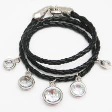 Black Chord with Crystal Bracelet ( SZ-2057 )
