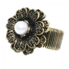 Flower Ring with Pearl Center ( SZ-1314 )